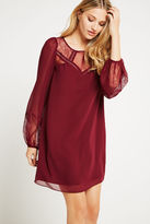 BCBGeneration Lace-Trimmed Babydoll Dress - Red