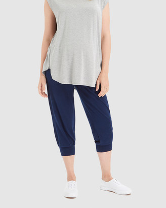 Bamboo Body - Women's Navy Cropped Pants - Summer Slouch Pants - Size One Size, XS at The Iconic