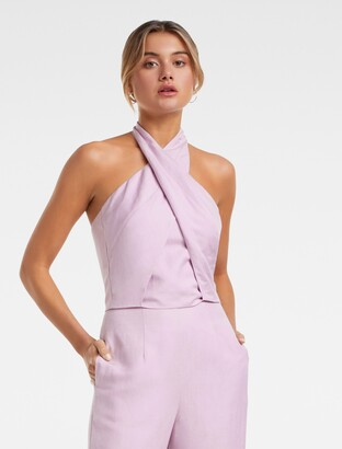 Forever New Lana Co-Ord Wrap Tie Top - Lilac - 12