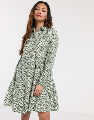 Pieces smock shirt mini dress in ditsy floral print