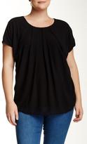 Bobeau Short Sleeve Pleat Front Blouse (Plus Size)