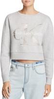 Calvin Klein Metallic Foil Logo Crop Sweatshirt