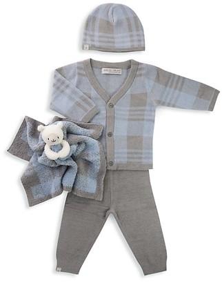 Barefoot Dreams Baby Boy's 4-Piece Plaid Cardigan, Pants, Beanie & Buddie Bundle