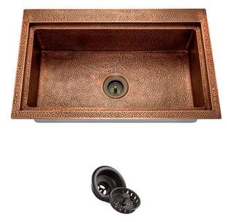 """3.1 Phillip Lim MR Direct Copper L x 20"""" W Drop-In Kitchen Sink With Drain Assembly MR Direct"""