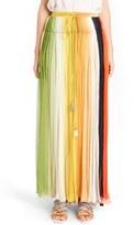 Chloé Stripe Pleated Silk Skirt with Tassels