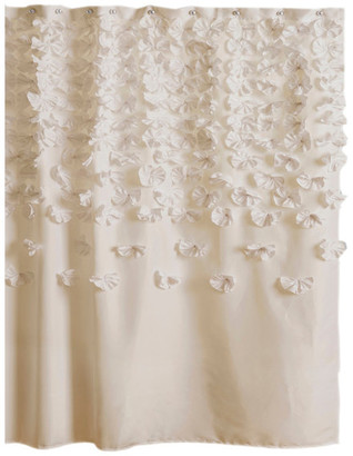 Triangle Home Fashions Lucia Shower Curtain, Ivory