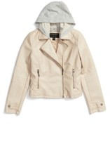 Bernardo Girl's Hooded Faux Leather Moto Jacket