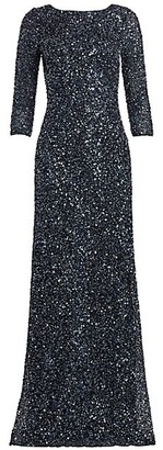 Theia Crunchy Sequin Boatneck Gown