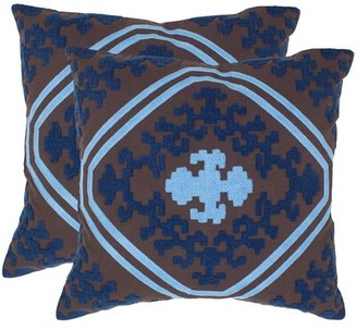 "Safavieh Pete Cotton Damask Throw Pillow Size: 18"" H x 18"" W x 2.5"" D"