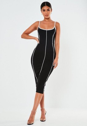 Missguided Black Rib Contrast Piping Midaxi Dress