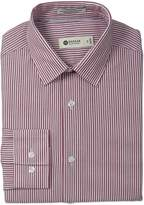 Haggar Men's Bold Stripe Point Collar Regular Fit Long Sleeve Dress Shirt