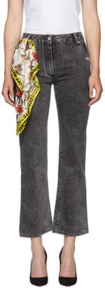 Off-White Off White Grey Bleached Cropped Jeans