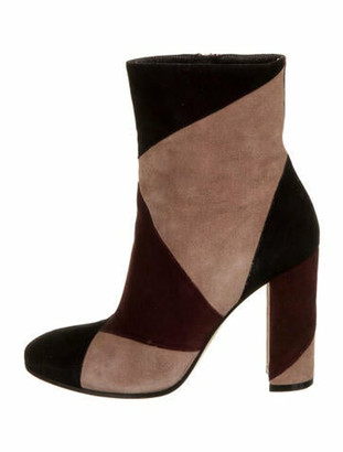 Gianvito Rossi Suede Colorblock Pattern Boots Pink