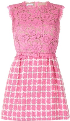 Valentino Pre-Owned Lace Panel Checked Dress