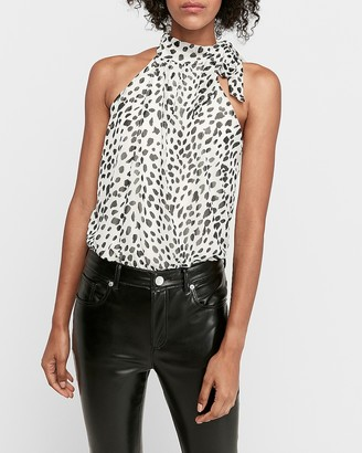 Express Leopard Halter Neck Thong Bodysuit