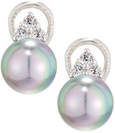 Majorica 10mm Triple CZ Crystal & Pearl Stud Earrings, Gray