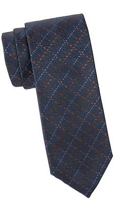 Canali Faux Thread Print Silk Tie