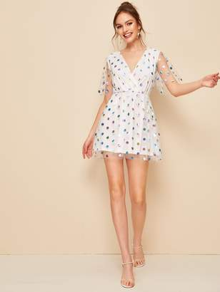 Shein Polka-dot Print Surplice Neck Mesh Overlay Dress