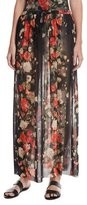 Fuzzi Floral Tulle Double-Slit Coverup Maxi Skirt, Black