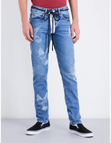 Off-white C/o Virgil Abloh Distressed Slim-fit Straight Stretch-denim Jeans
