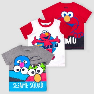 Sesame Street Toddler Boys' Elmo 3pk Short Sleeve Graphic T-Shirt - Red/White/Gray