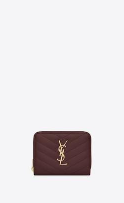 Saint Laurent Monogram Matelasse Slg Monogram Compact Zip Around Wallet In Grain De Poudre Embossed Leather Dark Legion Red Onesize