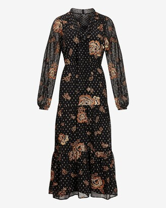 Express Metallic Floral Embroidered Tie Neck Midi Dress