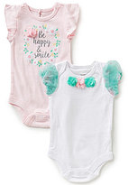 Baby Starters Baby Girls Newborn-12 Months Be Happy & Smile Bodysuit Two-Pack