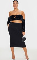 Bardot Apparelt Plus Black Velvet Tie Front Crop Top