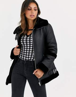 Asos Design DESIGN bonded aviator coat in black