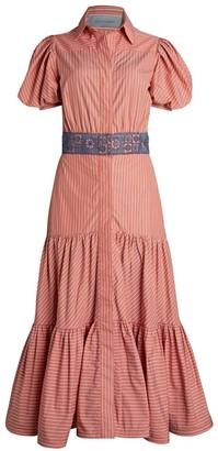 Silvia Tcherassi Pinstripe Puff-Sleeve Midi Dress