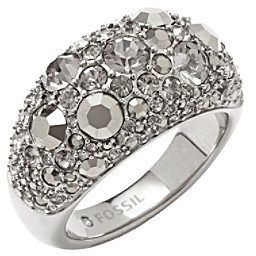 Fossil Silvertone Pave Dome Ring