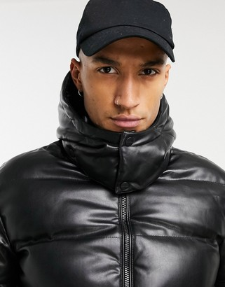 Mauvais leather look puffer coat in black