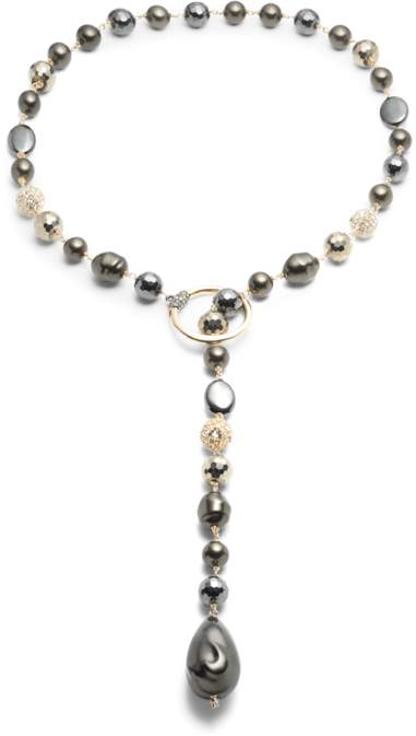 Alexis Bittar Baroque Pearl And Pavé Ball Lariat Necklace
