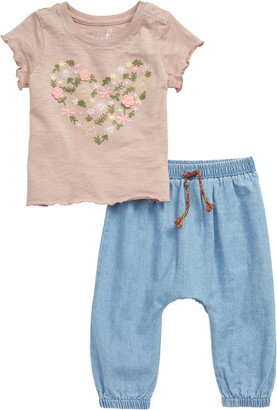 Peek Aren't You Curious Lianna Tulum Embroidered T-Shirt & Denim Jogger Pants Set