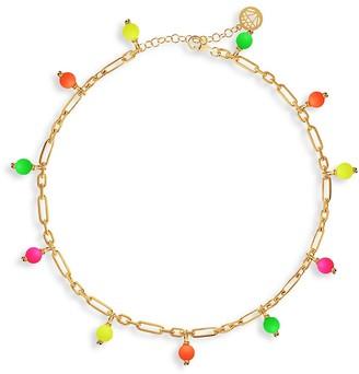 GABIRIELLE JEWELRY Neon 14K Gold Vermeil Enamel Candy Bead Ankle Anklet