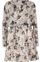 River Island Womens Cream floral print smock wrap dress