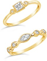 Sterling Forever 14K Yellow Gold Vermeil Cubic Zirconia Rings - Set of 2