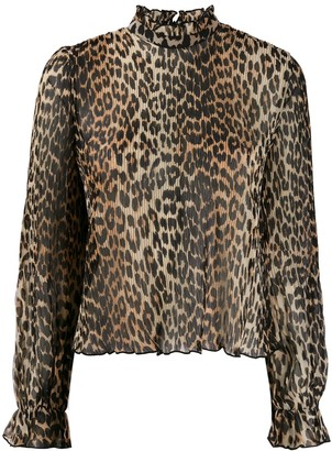 Ganni Pleated Leopard Print Blouse