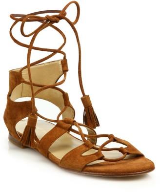 Stuart Weitzman Roman Suede Flat Sandals