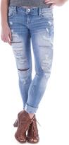 Amethyst Jeans Light Blue Denim Distressed Embellished-Pocket Mona Jeans - Plus
