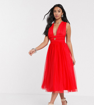 ASOS DESIGN Petite exclusive tulle cross plunge midi dress in red