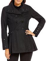 Calvin Klein Wool Melton Pleated-Skirt Military Coat