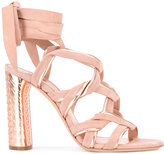 Casadei twisted strap evening sandals - women - Chamois Leather/Leather/Kid Leather - 35