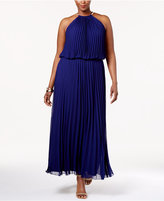 MSK Plus Size Pleated Halter Gown