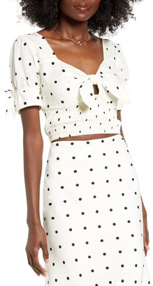 4SI3NNA the Label Polka Dot Short Sleeve Tie Crop Top