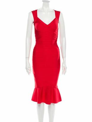 Herve Leger V-Neck Knee-Length Dress Red