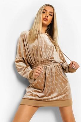 boohoo B Embossed Velour Hooded jumper Dress