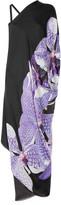 Asymmetric printed silk-chiffon gown