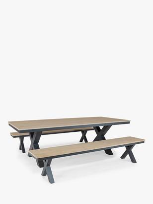 Kettler Elba Garden Picnic Dining Table & Chairs Set, FSC-Certified (Teak Wood), Anthracite/Teak